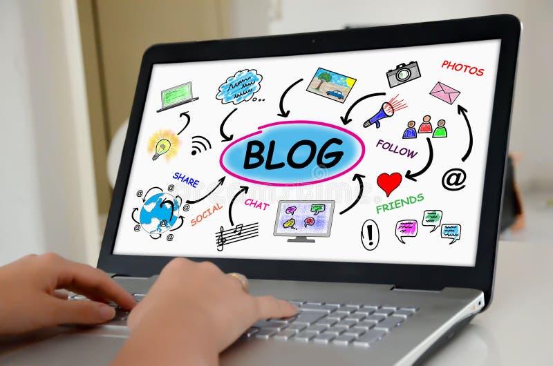 Blog concept on a laptop screen. Hands on a laptop with screen showing blog concept royalty free stock photos