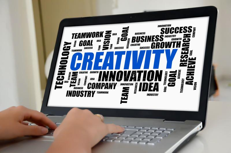 Creativity word cloud concept on a laptop screen stock photography