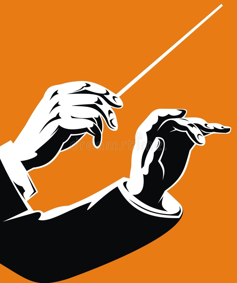 Hands of leader. On the orange background royalty free illustration