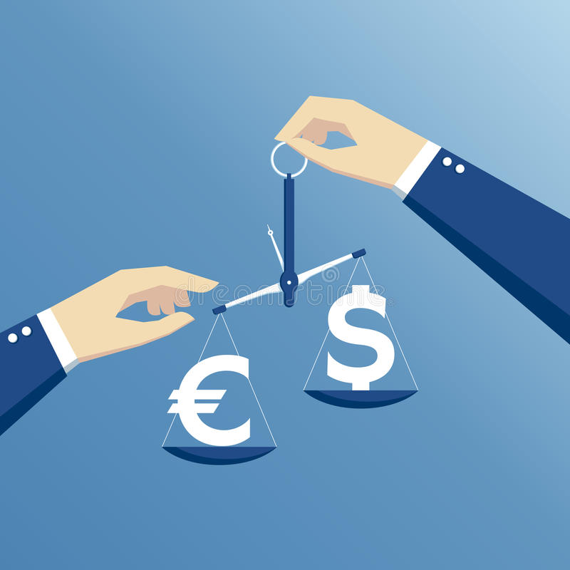 Hands and libra. Business concept exchange rate, hands holding the scales and weighed the dollar and euro flat design vector illustration