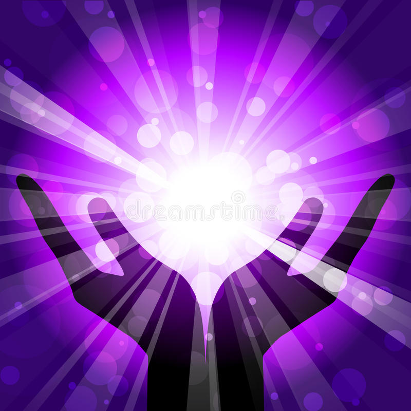 Hands with light royalty free illustration