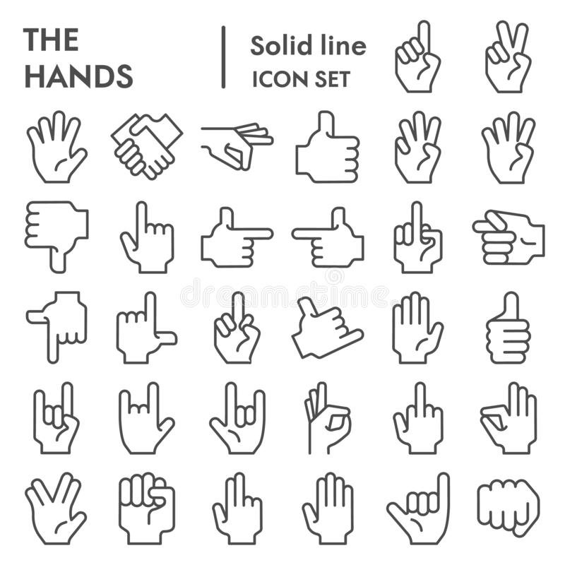 Hands line icon set, gesture symbols collection, vector sketches, logo illustrations, arm signs linear pictograms vector illustration