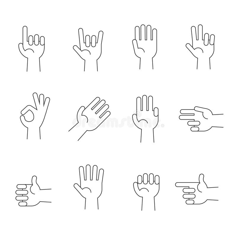 Hands line vector icons set royalty free illustration