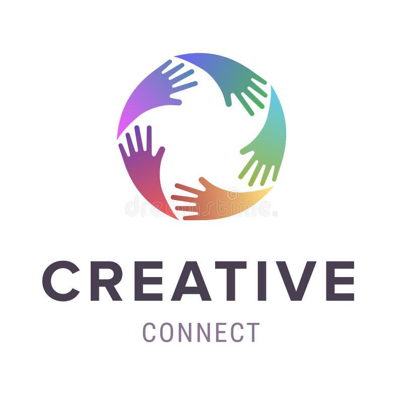 hands logo abstrakt färgrik logo för designdiagramillustration Vektorbegrepp eller begreppsmässig cirkelspiral av färgrika handsy vektor illustrationer