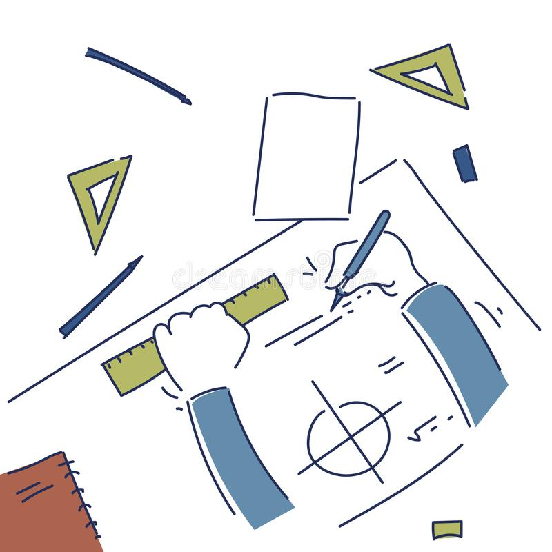 Hands making blueprint design workplace desk top angle view stock download hands making blueprint design workplace desk top angle view stock vector illustration of architectural malvernweather Images