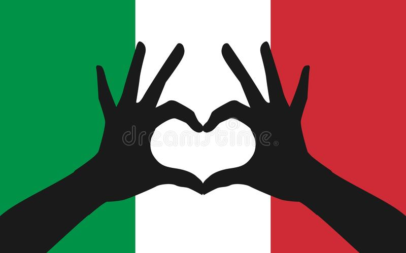 Hands making a heart shape on italian flag royalty free illustration