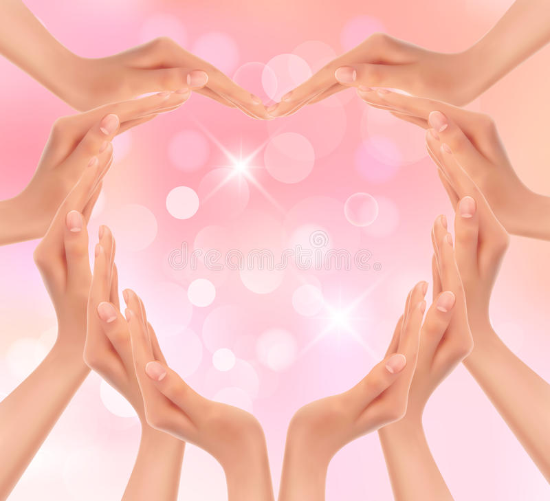 Hands making a heart. Valentines day background. stock illustration