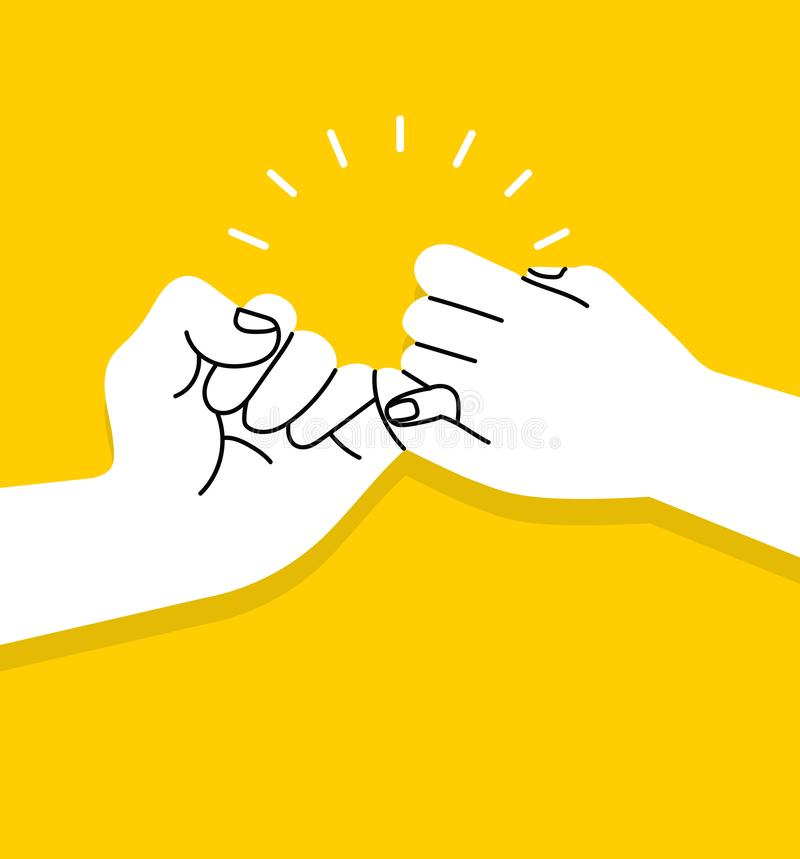 Hands making  promise vector on yellow background. Vector illustration, Flat and minimal vector eps file With Copy Space vector illustration