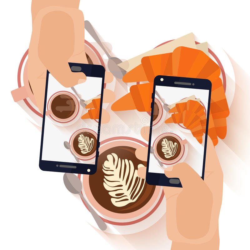 Hands making a smartphone photo of breakfast stock illustration