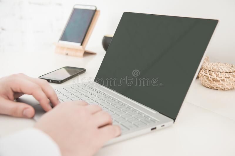 Hands of man with laptop. Freelance or distance study concept royalty free stock photos