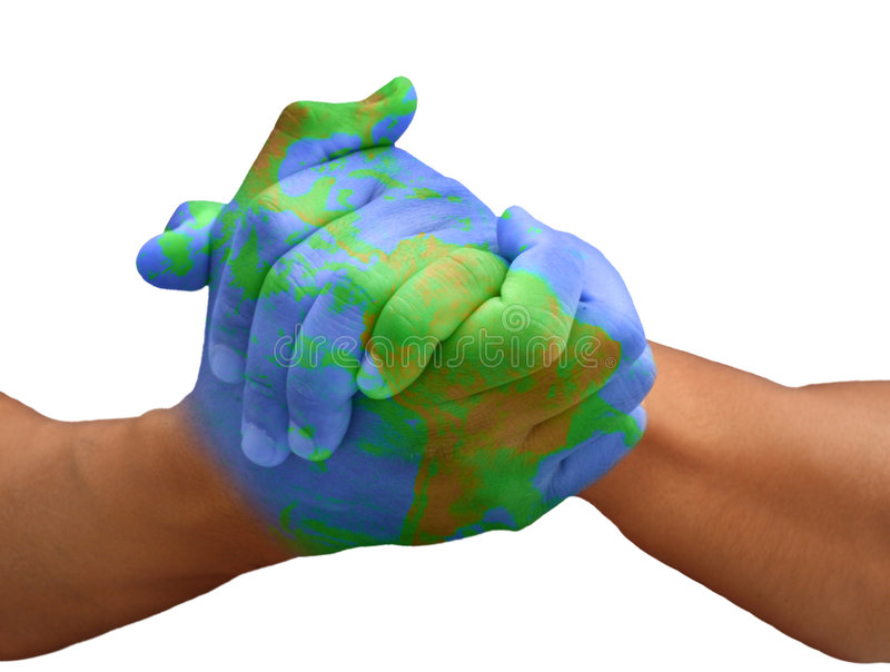 Hands of a Man Painted Like a Globe. Hands Painted Like a Planet Representing Global Issues Isolated on White royalty free stock photography