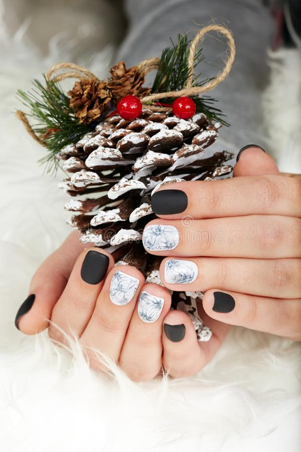 Hands with manicured nails colored with black and white nail polish. And pine Christmas decoration stock images