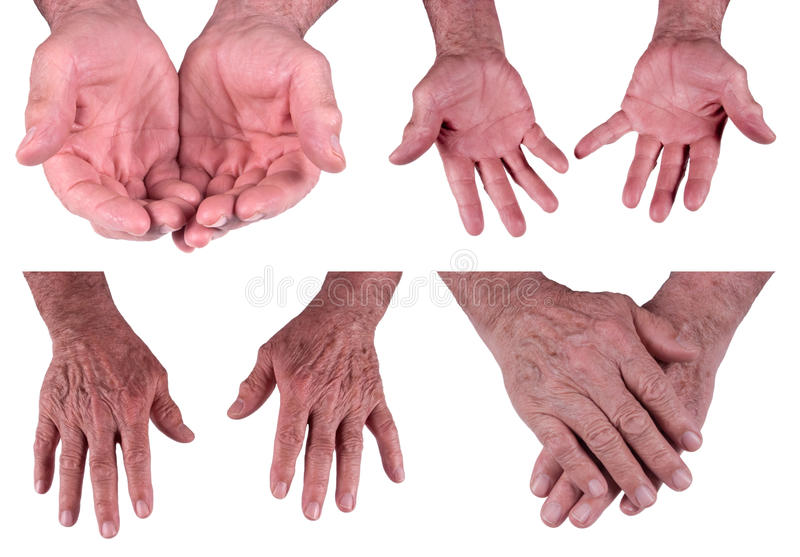 Hands of Mature Senior Man, Male Isolated on White royalty free stock photography