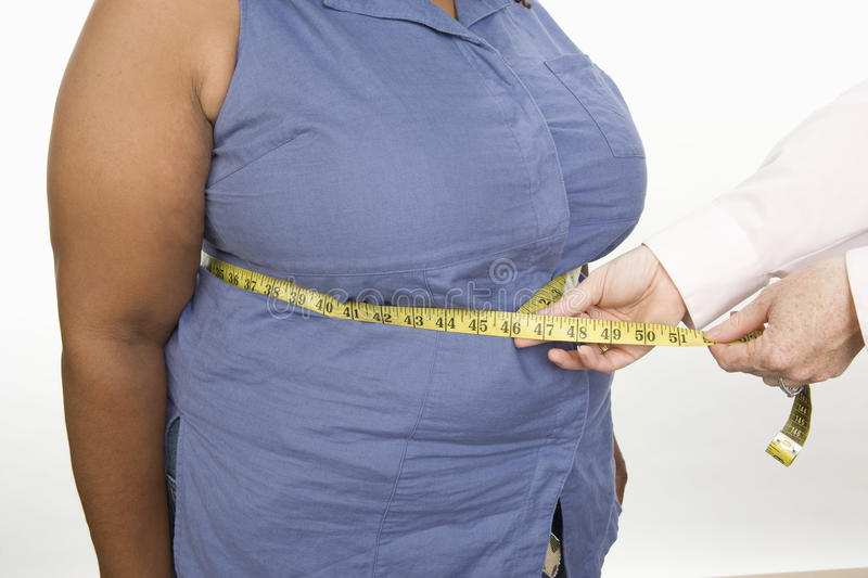 Hands Measuring Abdomen Of An Obese Woman Royalty Free Stock Photo