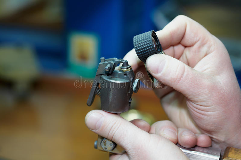 Hands With Mechanical Labor-saving Device Stock Photography