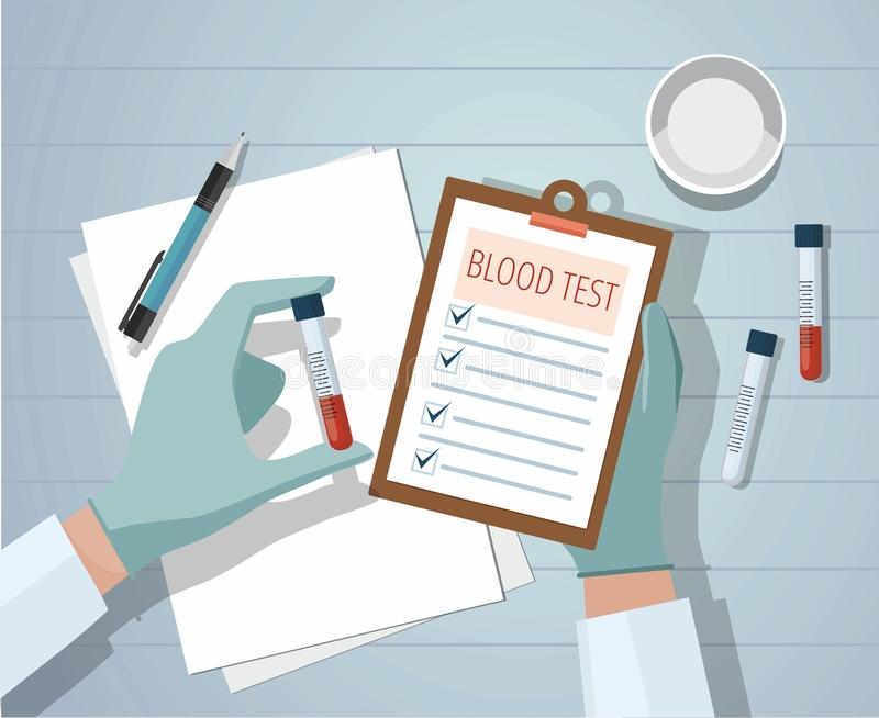 Hands a medical doctor holding blood sample and making notes. Workplace. royalty free illustration