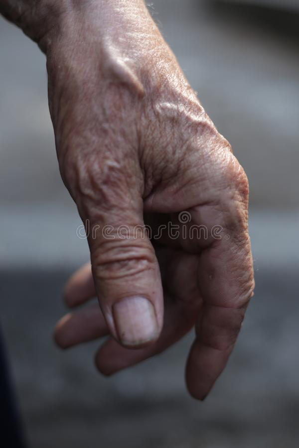 The hands of men who worked for many years. The hands of men who have worked for many years, the hand that has been at work for many years, the hand for royalty free stock photography