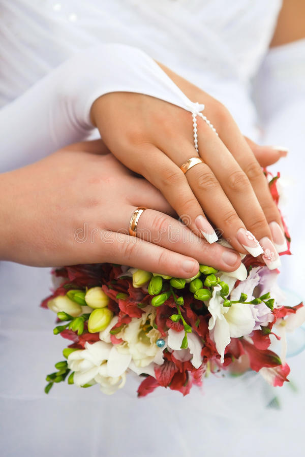 Hands Men And Women With Wedding Rings Stock Photo Image of