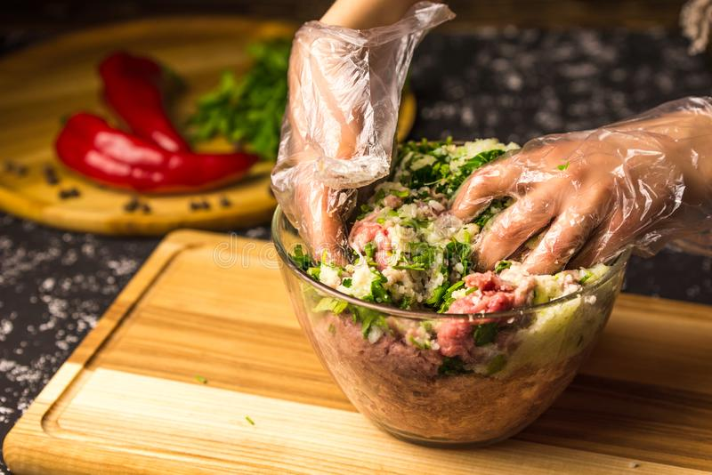 Hands mix raw minced pork in a glass bowl royalty free stock image