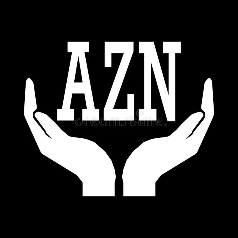 Hands and money currency Azerbaijan Manat sign. letters AZN SIGN. Take care money sign - white on black background. Do not squander royalty free illustration