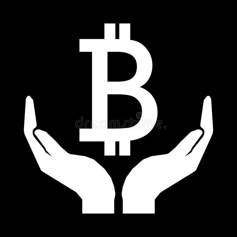Hands and money currency bitcoin sign. Take care money sign white on black background.Do not squander royalty free illustration