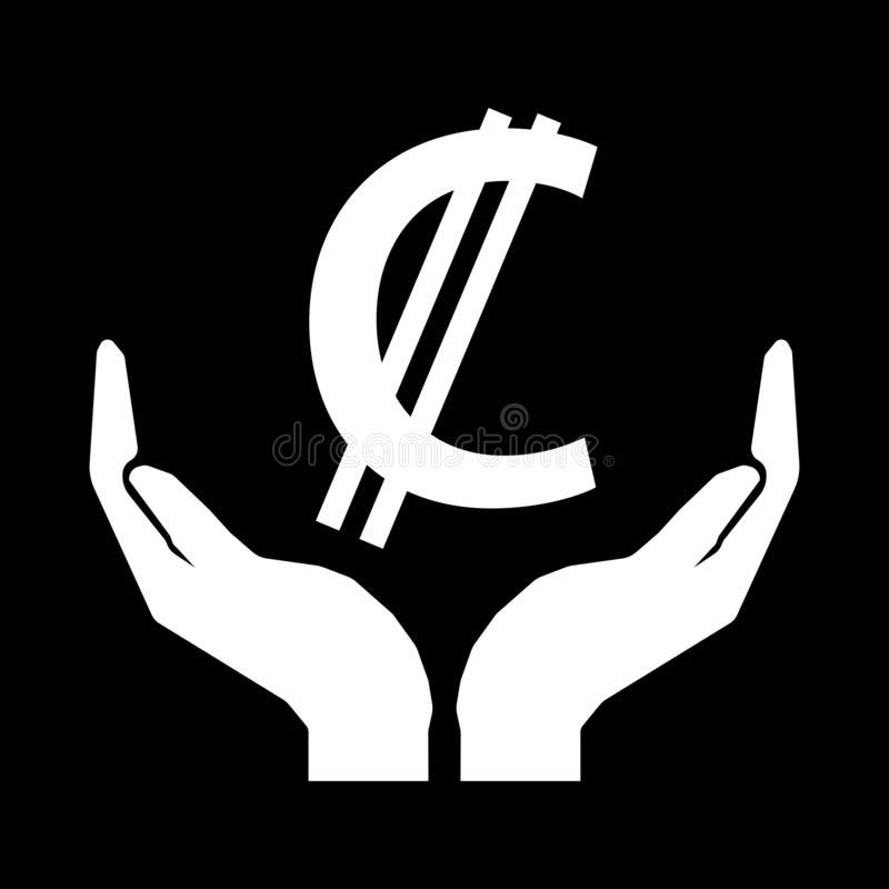 Hands and money currency COSTA RICA COLON sign. C with two stripes - white on black background. Do not squander vector illustration