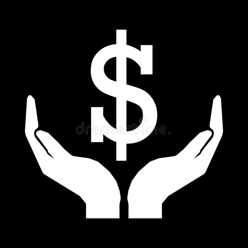Hands and money currency DOLLAR sign white on black background. Eps ten royalty free illustration