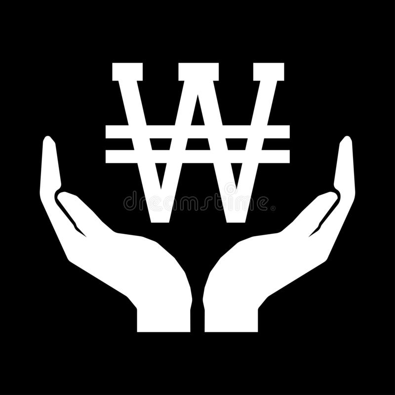 Hands and money currency KOREA WON sign. Take care money sign white on black background eps ten stock illustration
