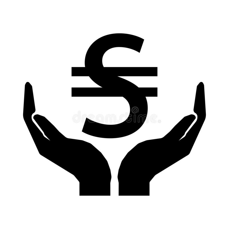 Hands and money currency UKRAINE HRYVNIA sign. Take care money sign eps ten vector illustration
