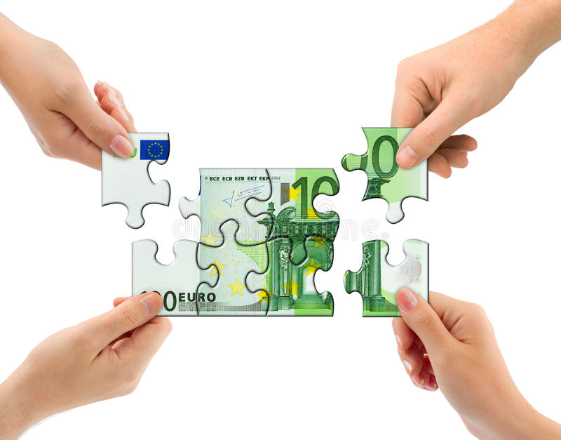 Hands and money puzzle royalty free stock images
