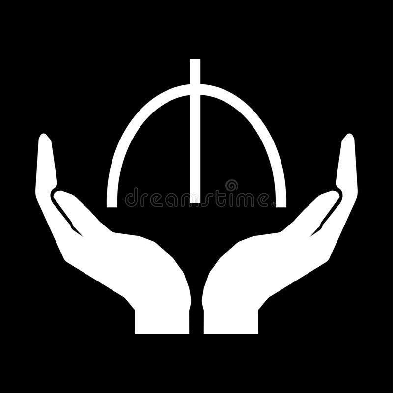 Hands and money sign. Manat. Azerbaijan. Take care money sign. white on black background. Do not squander stock illustration