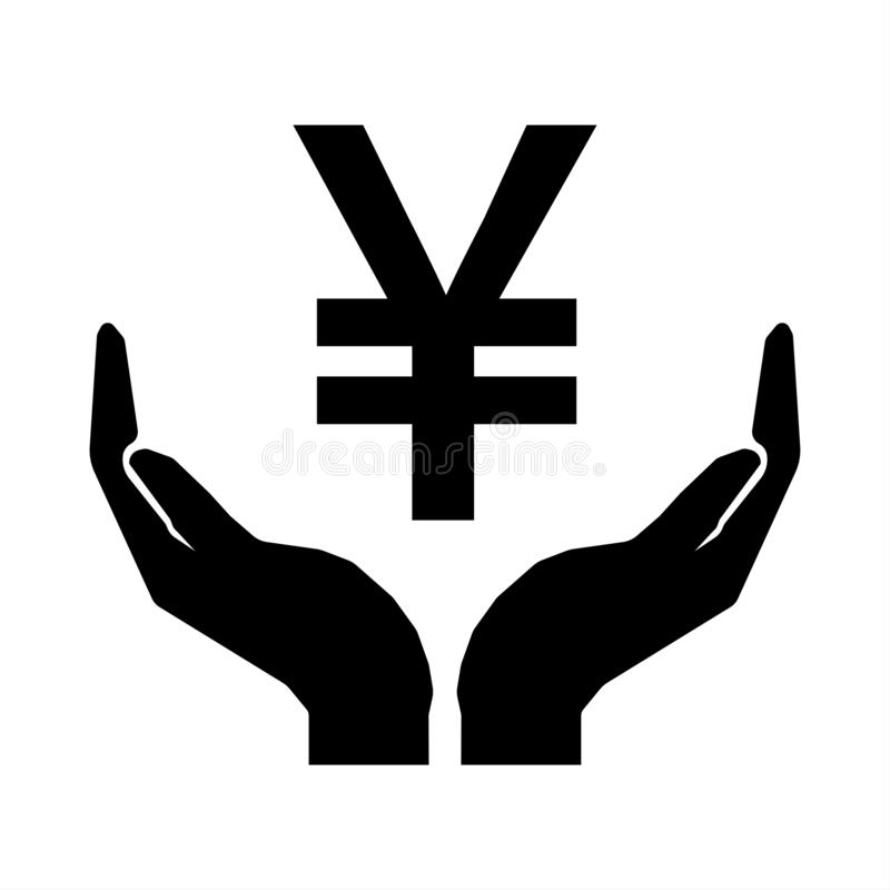 Hands and money sign Yuan China. Take care money sign ten eps. Hands and money sign Yuan China. Take care money sign stock illustration
