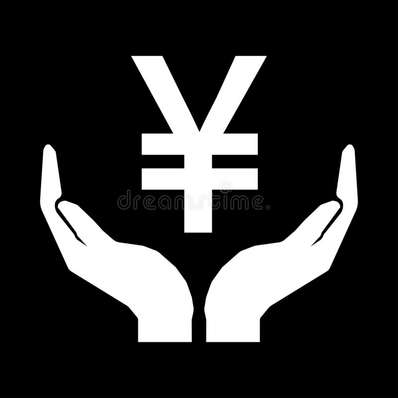 Hands and money sign Yuan China. Take care money sign - white on black background. Do not squander stock illustration