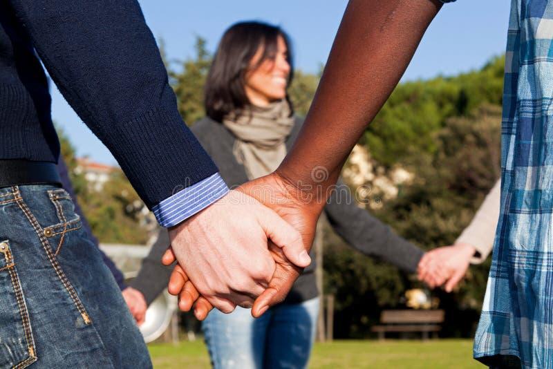 hands multiracial royaltyfri fotografi