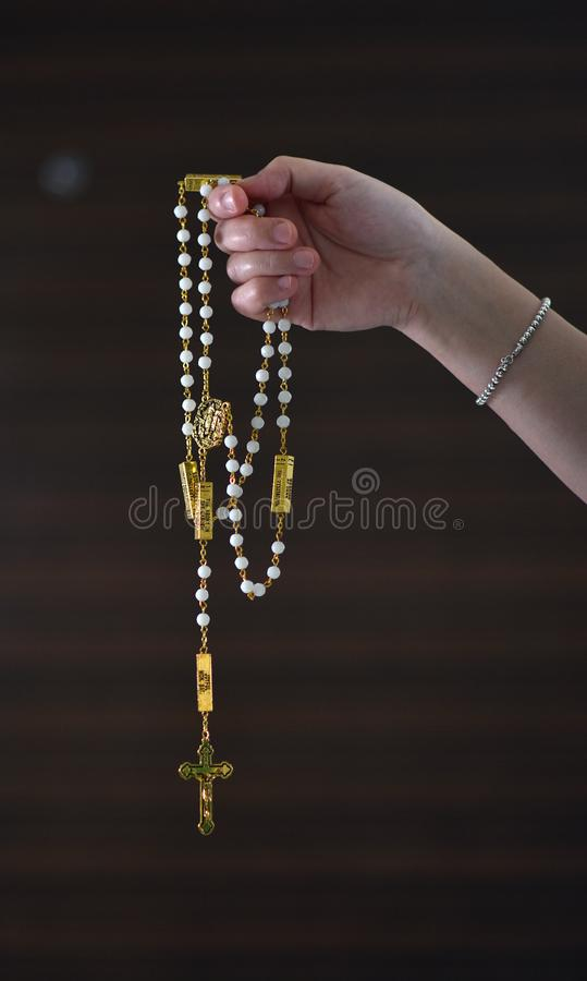 The Rosary in good hands royalty free stock photography