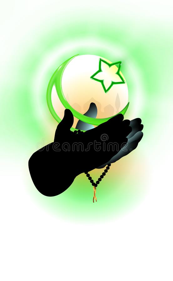 Hands of a Muslim who prays, faith concept. Islamic religion crescent and star, green tones  illustration. Design religious vector illustration