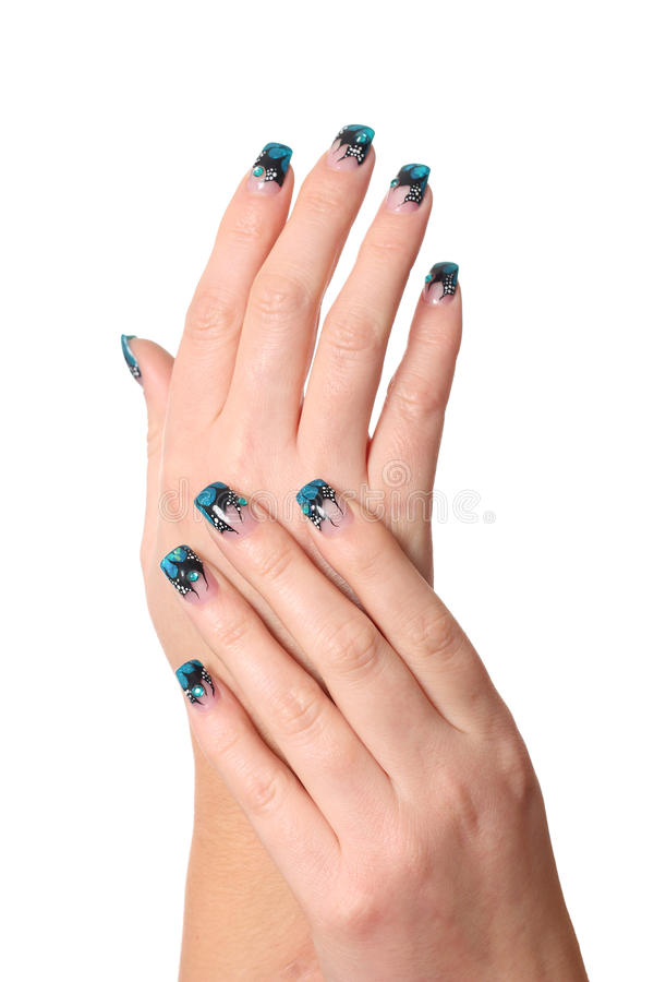 Download Hands with nail art stock photo. Image of glitter, girl - 24834426