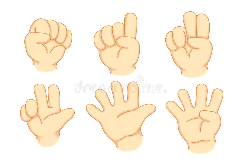Hands and numbers. Digital illustration realized with photoshop of hands that point out the numbers stock illustration