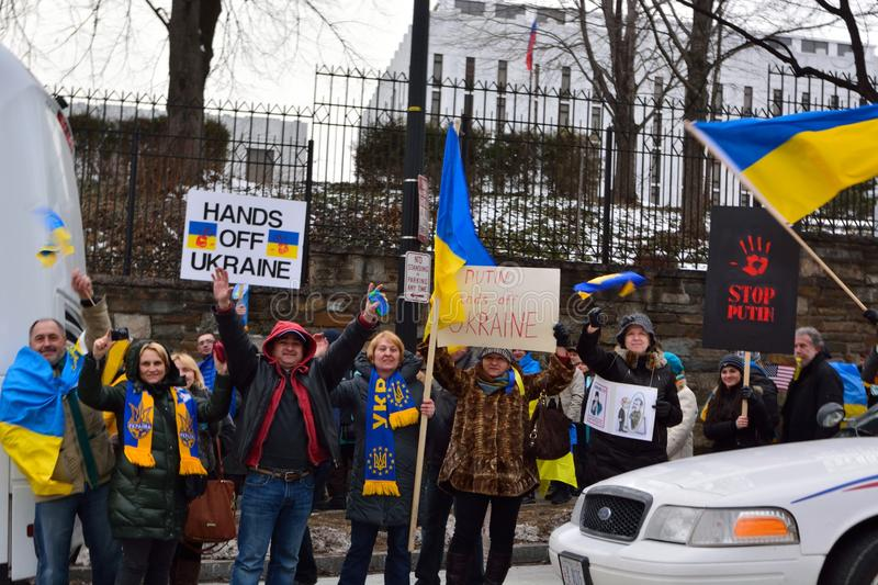 Hands off Ukraine. Ukraine protest outside the Russian Embassy in DC March 6, 2014 royalty free stock photography