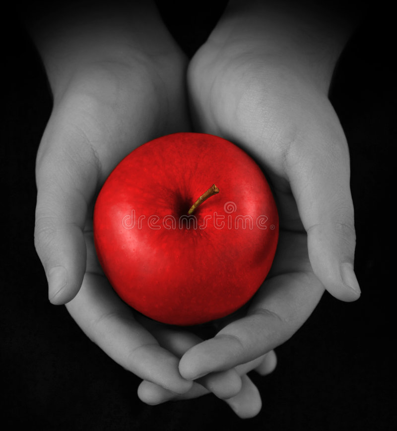 Free Hands Offering Red Apple Stock Image - 6439831