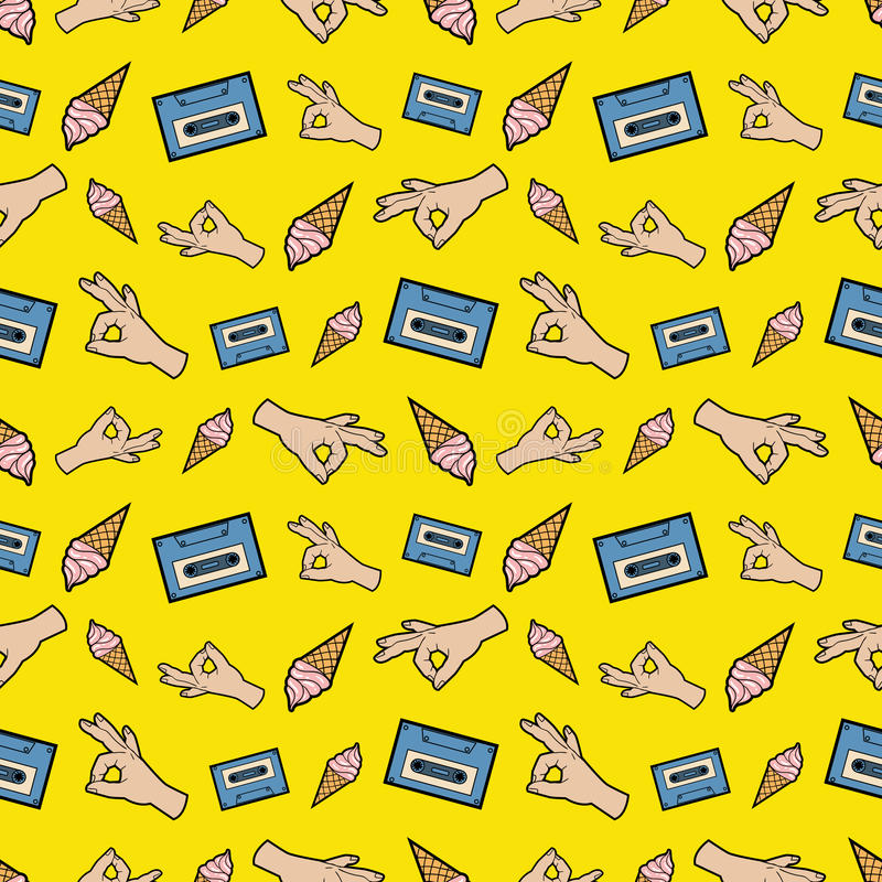 Hands OK Tape and Ice Cream Seamless Pattern. Fashion Background in Retro Comic Style vector illustration
