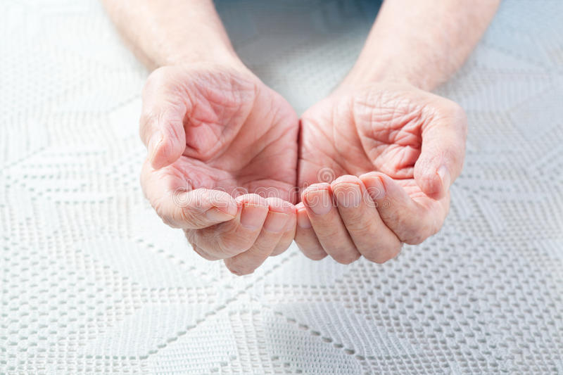 The hands of the old man. royalty free stock images