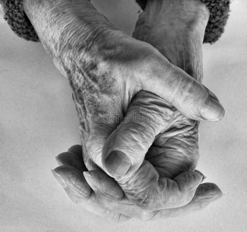 Aging concept. Hands of old woman. Aging concept stock photo