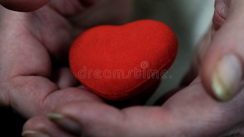 Hands of old woman holding heart sign closeup, charity and donation, kindness royalty free stock photo