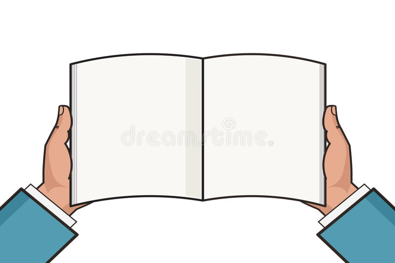 Hands with open blank book template. Vector illustration. stock illustration
