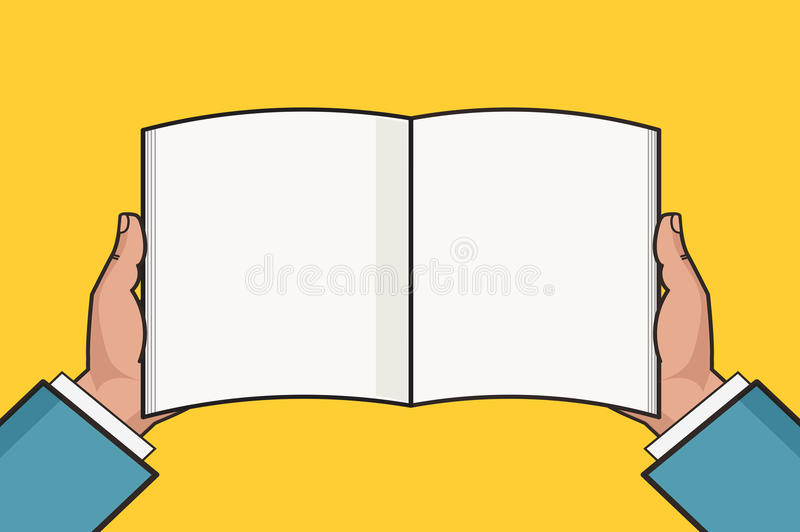 Hands with open blank book template. Vector illustration. vector illustration