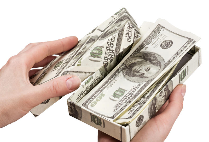Download Hands Open A Box With Money Stock Image - Image of isolated, earnings: 24293115