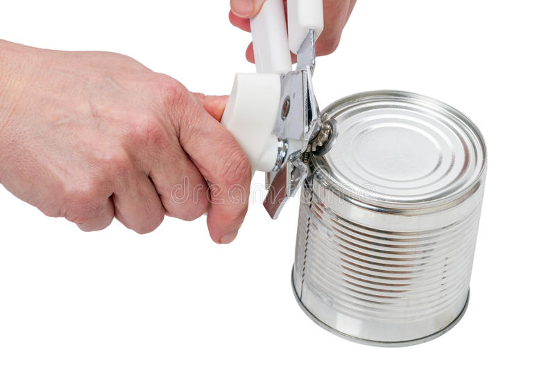 Hands open up a can stock photos