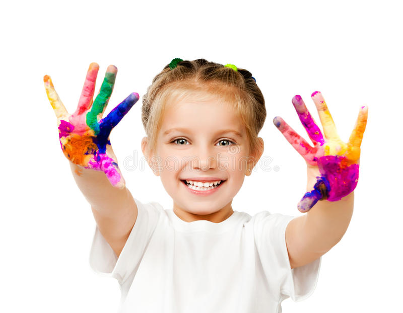 Hands in the paint. Beautiful little girl with her ??hands in the paint royalty free stock photography