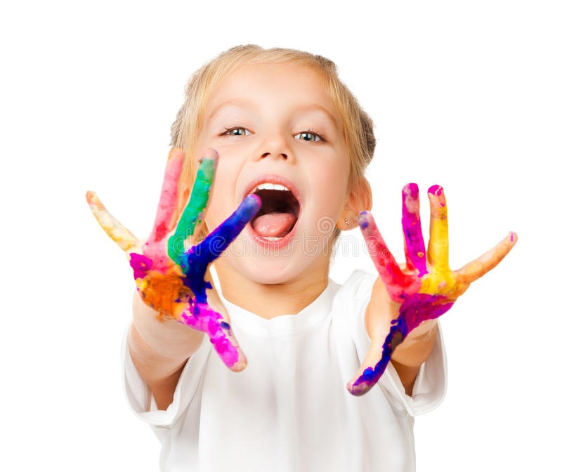 Hands in the paint. Beautiful little girl with her hands in the paint royalty free stock photography